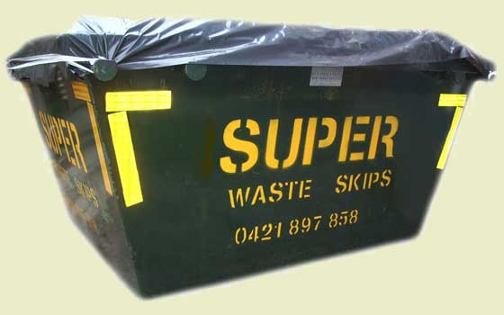 Image of a 4 cubic meter skip bin with Super Waste Skips logo and phone number